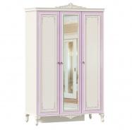 Trojdverová šatníková skriňa so zrkadlom Comtesa - alabaster/fialová