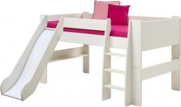 Detská vyvýšená posteľ so šmýkačkou Dany 90x200cm - čisto biela