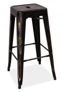 Barová kovová stolička LONG čierna pretieranie