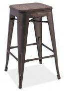 Barová kovová stolička LONG grafit / tm.ořech