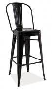 Barová kovová stolička LOFT H-1 čierna