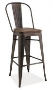 Barová kovová stolička LOFT H-1 grafit / tmavý orech