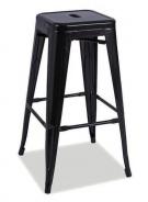Barová kovová stolička LONG čierna mat