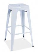 Barová kovová stolička LONG biela