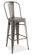 Barová kovová stolička LOFT H-1 kartáčovaná oceľ