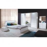 Spálňový komplet (skriňa + posteľ 160x200 + 2 x nočné stolík), biela / vysoký biely lesk HG, Asien