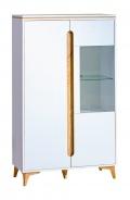 Široká vitrína Naira - biela/jaseň