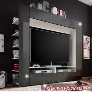 luxusné TV a media stena, čierna / extra vysoký lesk, MEDI TV
