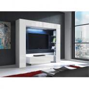 Luxusné TV a media stena, biela / biely extra vysoký lesk s LED osvetlením, MONTEREJ