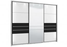 Skriňa s posuvnými dverami Marat 270 s osvetlením - biela/čierna