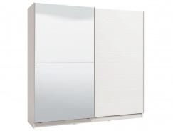 Dvojdverová posuvná skriňa so zrkadlom Auri 220 - biela/biela lesk