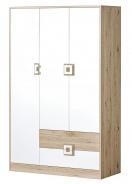 Šatníková skriňa 3-dverová NIKO 3 dub jasný / biela