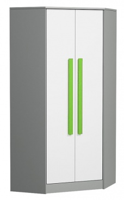 Rohová šatníková skriňa GYT 2 antracit / biela / zelená