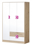 Šatníková skriňa 3-dverová NIKO 3 dub jasný / biela / ružová