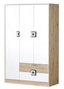 Šatníková skriňa 3-dverová NIKO 3 dub jasný / biela / popol