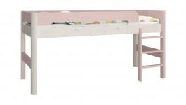 Vyvýšená posteľ Eveline 90x200cm - biely masív/ružová