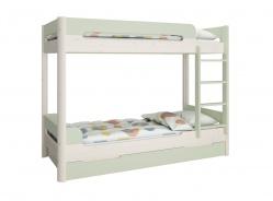 Poschodová posteľ s prístelkou Eveline 90x200cm - biely masív/zelená