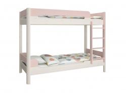 Poschodová posteľ Eveline 90x200cm - biely masív/ružová
