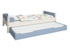 Detská posteľ s prístelkou Eveline 90x200cm - biely masív/modrá