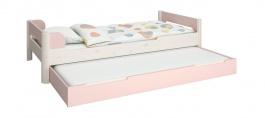 Detská posteľ s prístelkou Eveline 90x200cm - biely masív/ružová