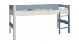 Vyvýšená posteľ Eveline 90x200cm - biely masív/modrá