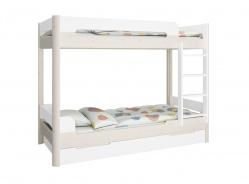 Poschodová posteľ s prístelkou Eveline 90x200cm - biela