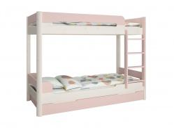 Poschodová posteľ s prístelkou Eveline 90x200cm - biely masív/ružová