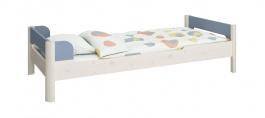 Detská posteľ Eveline 90x200cm - biely masív/modrá