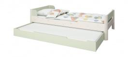 Detská posteľ s prístelkou Eveline 90x200cm - biely masív/zelená