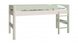 Vyvýšená posteľ Eveline 90x200cm - biely masív/zelená