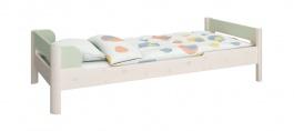 Detská posteľ Eveline 90x200cm - biely masív/zelená
