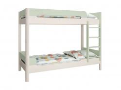 Poschodová posteľ Eveline 90x200cm - biely masív/zelená