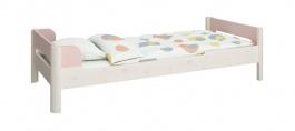 Detská posteľ Eveline 90x200cm - biely masív/ružová