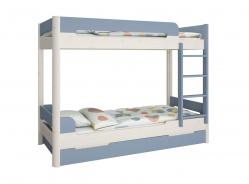 Poschodová posteľ s prístelkou Eveline 90x200cm - biely masív/modrá