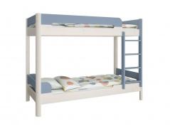 Poschodová posteľ Eveline 90x200cm - biely masív/modrá