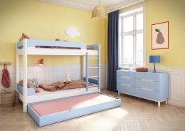 Detská zostava Eveline - biely masiv/modrá