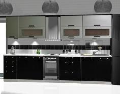 Kuchyňa MERKURY 260 čierny lesk / strieborný mat