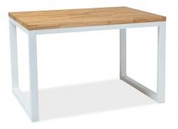 Jedálenský stôl Loras II 120x80 dub masív / biela