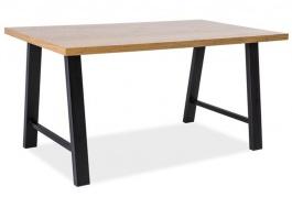 Jedálenský stôl Abrama dub masív / čierny kov 90x150