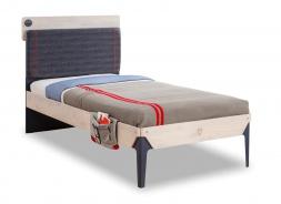 Študentská posteľ 100x200cm s poličkou Lincoln - dub/tmavo modrá