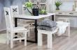 Stôl z masívu a kovu SEL 01, Provence štýl - výber morenia