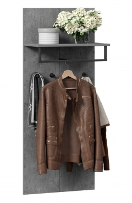 Vešiakový panel Malaga - sivá/čierna