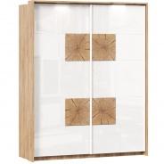 Šatníková skriňa s posuvnými dverami Markus - biely lesk/dub zlatý
