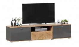 TV stolík Markus 200 - šedý lesk/dub zlatý