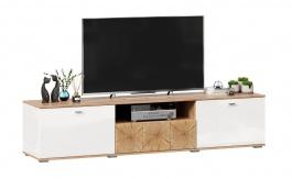 TV stolík Markus 200 - biely lesk/dub zlatý