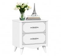 Zásuvkový nočný stolík Lily - biela