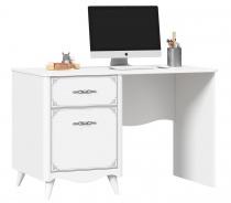 Písací stôl Lily, ľavý - biela
