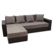Rohová sedacia súprava, ekokoža čierna / sivá látka, ARON