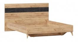 Manželská posteľ bez roštu 160x200cm Melody - dub zlatý/čierny mramor