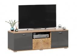 TV stolík Markus 140 - šedý lesk/dub zlatý